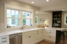 white transitional kitchen designs with white cabinet and glass