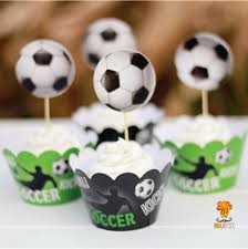 soccer party supplies 24pcs soccer football sport theme cupcake wrappers toppers kids