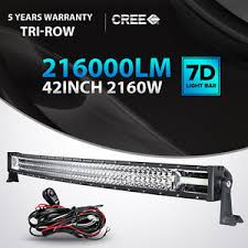 Led Light Bar For Truck 7d Tri Row 42inch 2160w Curved Led Light Bar Combo Offroad 4wd