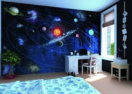 chambre a theme fresque murale chambre enfant garcon theme espace planetes