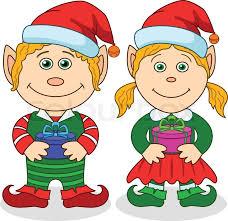 christmas elves boy and stock vector colourbox