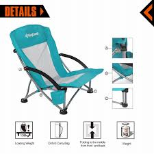 Low Back Lawn Chairs Amazon Com Kingcamp Low Sling Beach Camping Folding Chair With