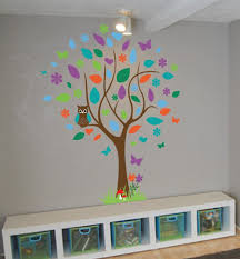 colorful owl tree wall art decal colorful owl tree wall art decal