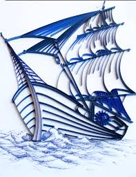 sailing ship unique paper quilled wall art for home decor