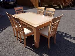 Maple Chairs Two Tone Wood Dining Table U0026 6 Maple Chairs Free Delivery 382 In