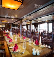 interior of vietnamese cruise ship dining room stock photo