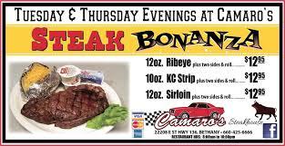 camaros bethany mo camaro s steakhouse and buffet home bethany missouri menu