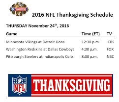 printable 2016 nfl thanksgiving schedule sports nfl
