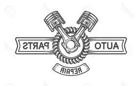 car service logo top 10 repair service gear and pistons auto emblem stock vector