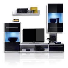 Wohnzimmerschrank Niedrig Roller Wohnwand Black Magic Schwarz Weiß Led Beleuchtung 230