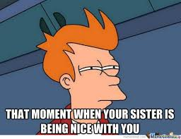 Sister Memes Funny - the moment when your sister or brother is being nice whit you by
