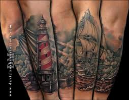 rebel muse tattoos sleeves lighthouse and ship half