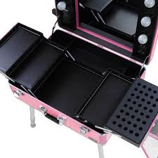 Rolling Makeup Case With Lights Studio Makeup Train Case Cosmetic Artist Rolling Trolley Table W