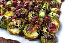 roasted brussels sprouts with cranberries bacon balsamic