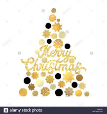 christmas tree isolated on white background with gold glittering