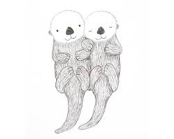 otter print otter ink drawing print otter holding hands cute