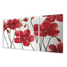 Bedroom Wall Art Sets Decor Tips Marvelous Red Floral 3 Piece Canvas Wall Art Sets For