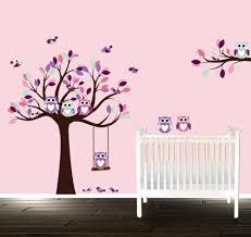 girls wall decal nursery tree pink room decals owl wall zoom