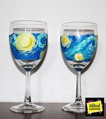 starry wine glass painting tilted canvas paint