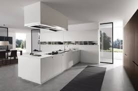 luxury galley kitchen with a contemporary style and brown island