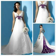 buy wedding dresses purple and ivory wedding dresses with color accents satin slip