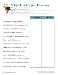 subject and object pronouns worksheet education com
