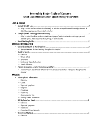 what does table of contents mean intern binder table of contents