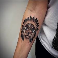 small great black and white indian on forearm designs