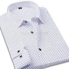 100 cotton polka dot men casual business dress shirt brand long