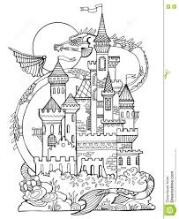 castle and dragon coloring book vector stock vector image 79846146