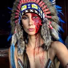 Puritan Halloween Costume Model Wearing Disgusting Native American