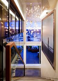 Cascading Glass Bubble Chandelier Mesmerizing Home Decor With Contemporary Staircase And Black Iron