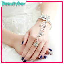 bridal bracelet with ring images 2018 wholesale new gorgeous crystal silver slave bracelet jpg