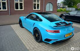 miami blue porsche porsche 991 turbo s mkii 16 july 2016 autogespot