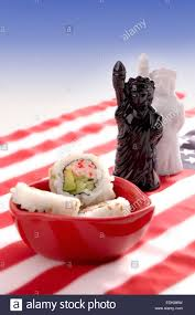 sushi on american flag with statue of liberty novelty salt and