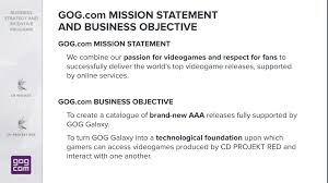 objectives of mission statement cd projekt aims to be among the top 3 game devs gog to feature gog objectives
