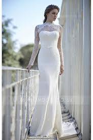 lace wedding dress with sleeves high neck sleeves sheath lace wedding dress with ribbon