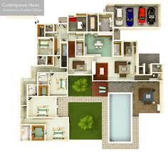 100 house perspective with floor plan modern house drawing
