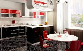 black white and red kitchen home decorating inspiration
