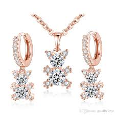 zircon necklace sets images Cute animal jewelry sets 18k white rose gold plated aaa cubic jpg