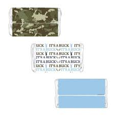 baby shower camo it u0027s a buck stickers for hershey miniature bars camouflage and