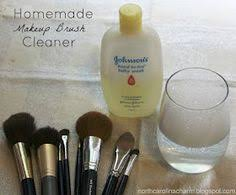 homemade makeup brush cleaner 1 cup warm water and 1 tablespoon baby shoo