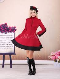 lolitashow bright red one piece dress long sleeves stand