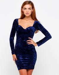 blue bodycon dress buy motel madame sleeve bodycon dress in midnight blue velvet