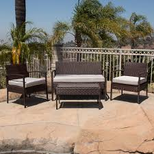 Rattan Patio Furniture Sets 4pc Rattan Wicker Patio Furniture Set Sofa Chair Table Cushioned