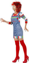 Chucky Costume Halloween Smiffy U0027s Women U0027s Chucky Costume Jumper Dungarees Mask U0026 Wig