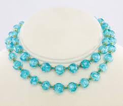 blue glass necklace vintage images Vintage blue venetian glass necklace long flapper JPG