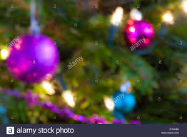 blurred out of focus tree lights and baubles abstract