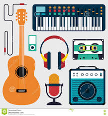 collection of music instruments and sound flat design illustration
