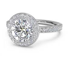 circle engagement ring with halo ritani micro pave halo white gold semi mount engagement